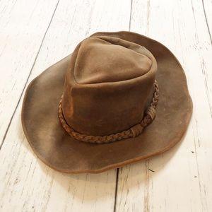 Minnetonka brown men's leather hat vintage XL